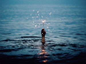 Sparkler from the wave