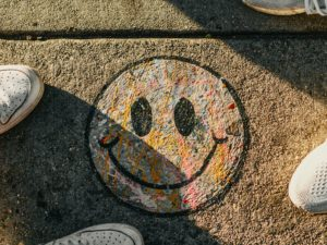 Smiley face drawn on the road