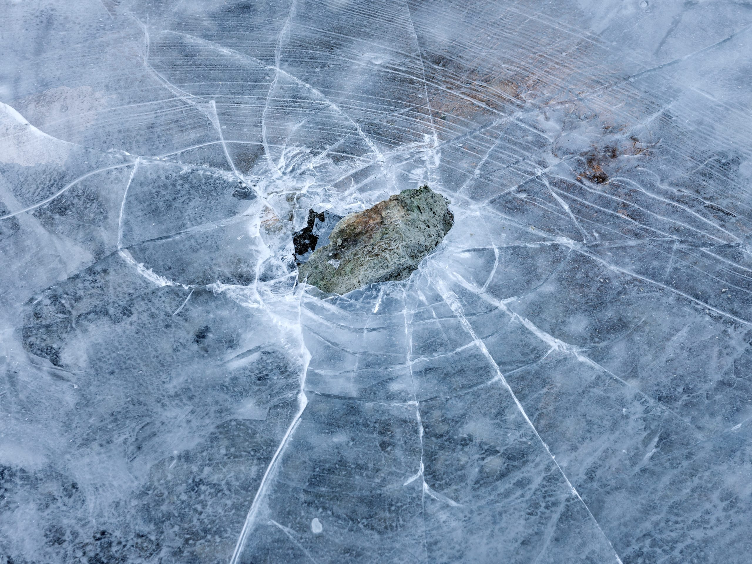 Rock under cracked ice