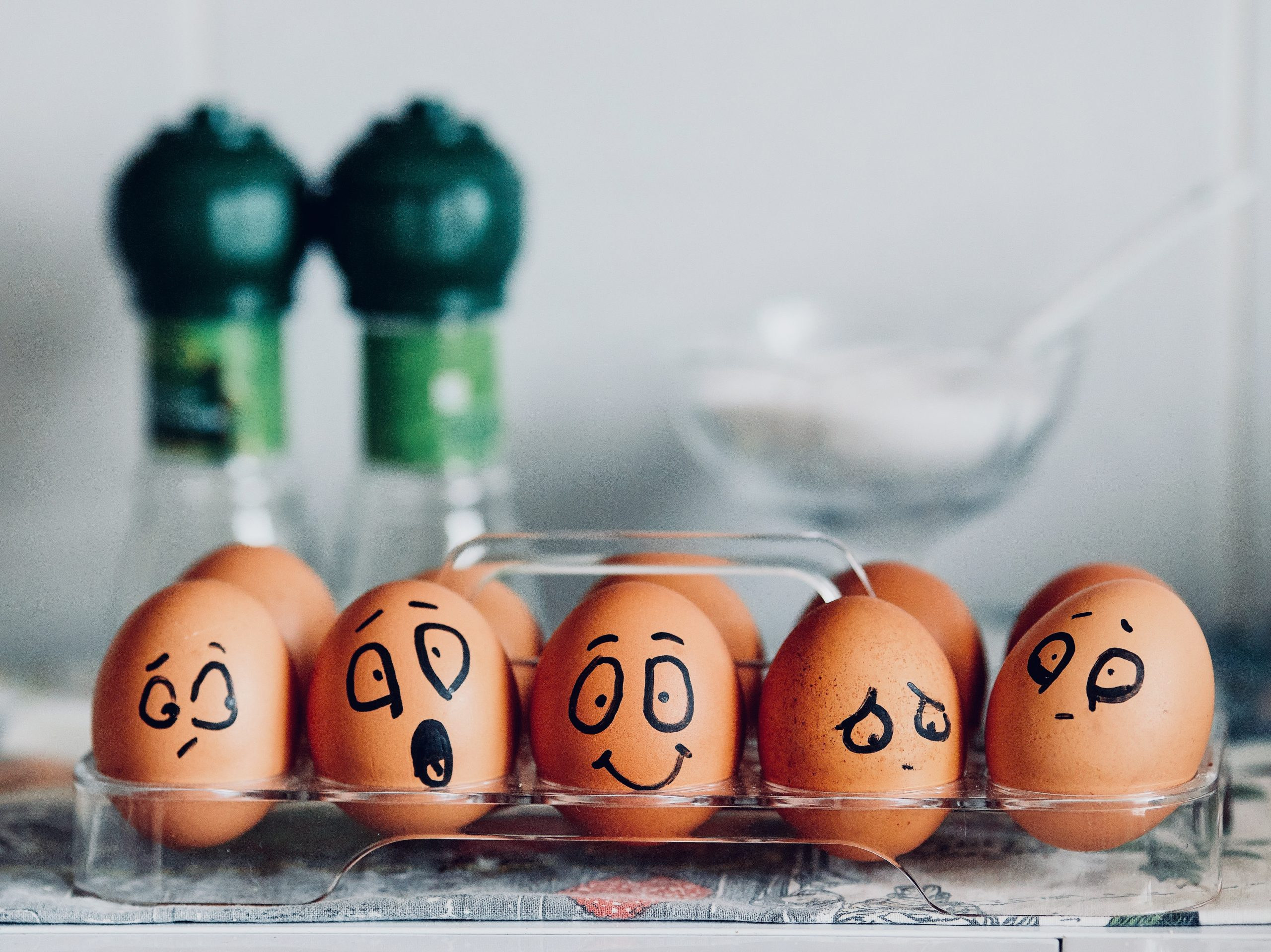 Eggs with different facial expressions
