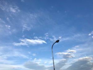 Street lamp on blue sky