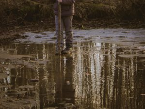 Stand on mud in forest
