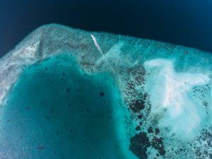 Aerial view of Baa Maldives sea