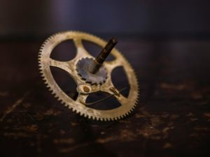 Clockwork spinner-Stop— a creative toy made from a beautiful antique clock gear! Junkgirls, Monterey Street, San Luis Obispo, CA, USA