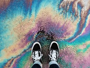 Standing on colored road