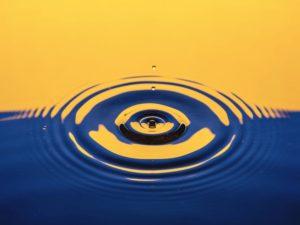 Blue and yellow ripples; Oshawa Central, Canada