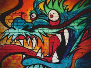 Dragon on a wall; Coeur d'Alene, ID, USA