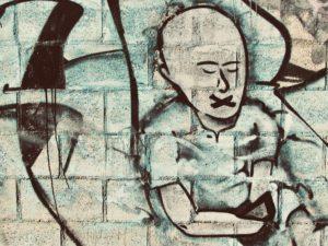 Man in blue graffiti