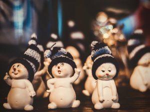 Snowman with blue hat; Reykjavík, Iceland