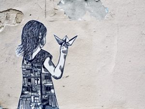 Girl holding paper boat illustration art Montmartre, Paris, France