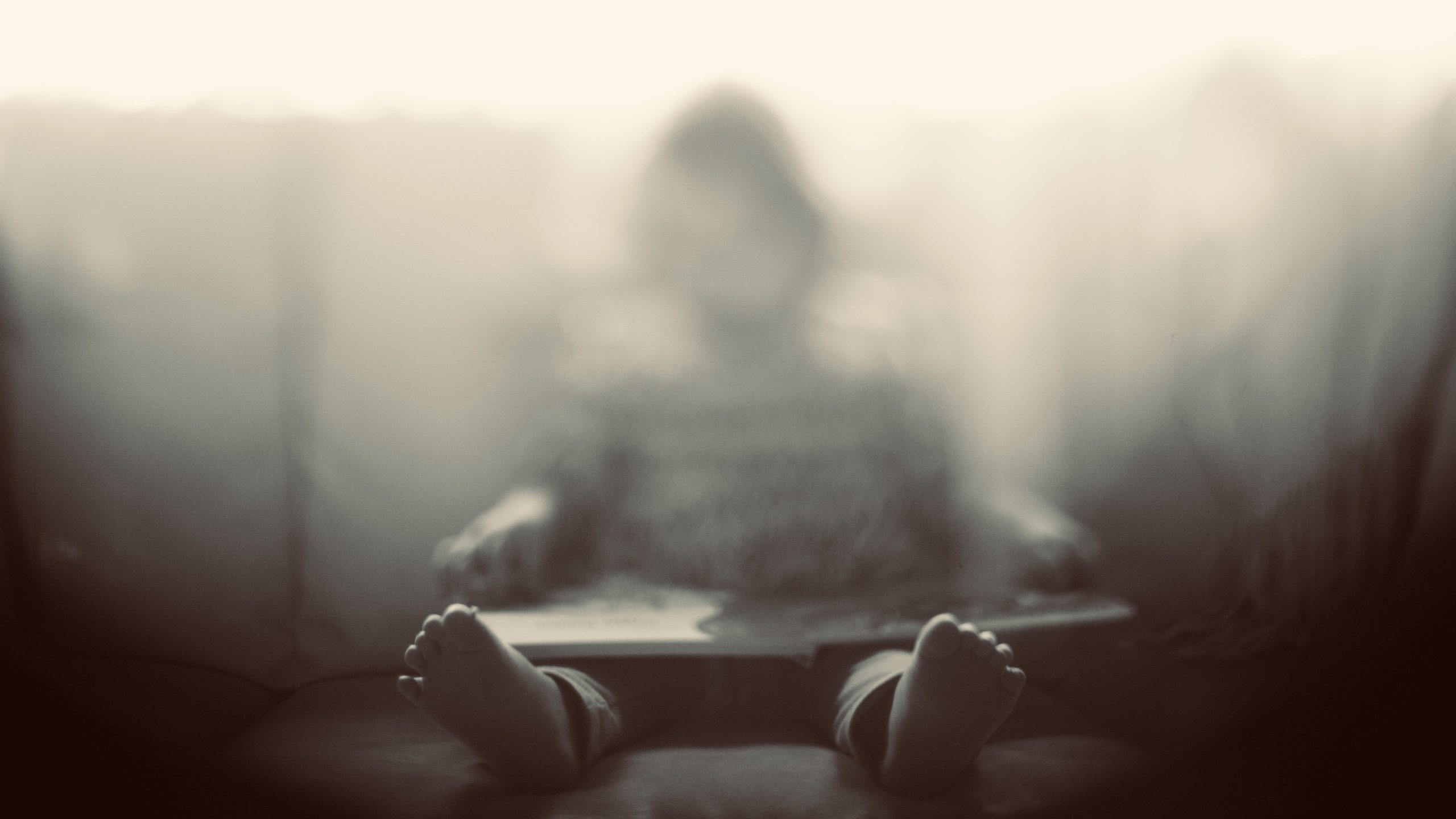 Little girl reading a book in a chair